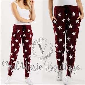 ‼️LAST 1- Burgundy star print lounge pants